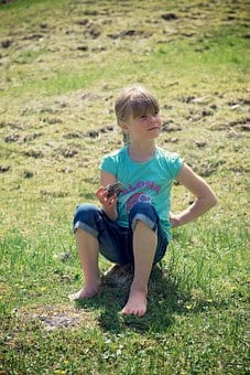 Human, Child, Girl, With Detent, Sitting, Meadow