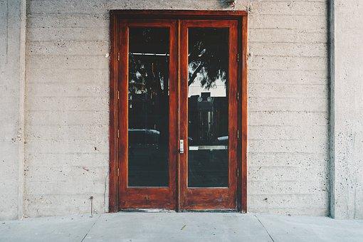 Door, Entrance, Glass, Wood, Home, Building