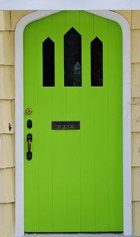 Door, Front Door, Green, Lime, House, Home, Front