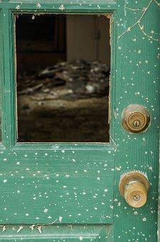 Rustic Door, Abandoned, Broken Window, Green, Junk