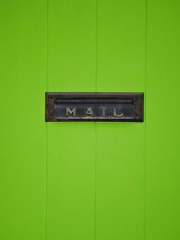 Door, Mail Slot, Mail, Brass, Slot, Metal, Green, Lime