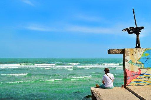 Man, Sea, Bay, Sky, Blue, Green, Graffiti, Landscape