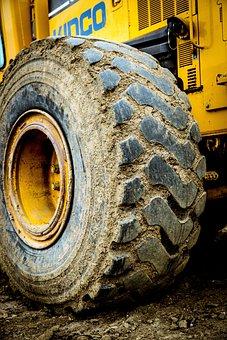 Construction, Heavy Equipment, Wheel, Muddy, Dirty