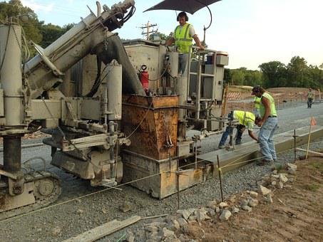 Heavy Equipment Working, Curb And Gutter