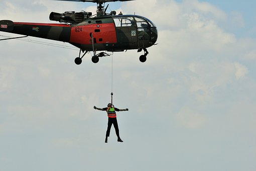 Alouette Iii, Helicopter, Hoisting, Man, Display