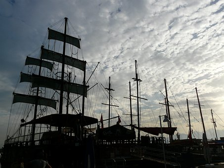 Ships, Sailing Ships, Boats, Port, Hoist, Hoisted