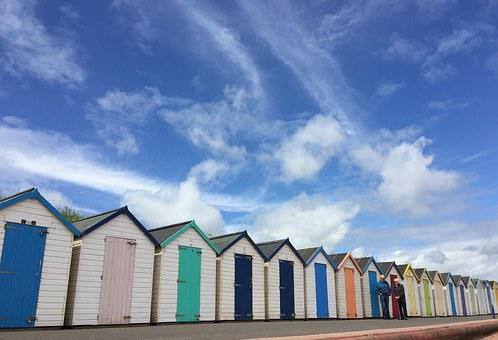 Beach Huts, Huts, Sea, Beach, Summer, Sky, Blue, Sand