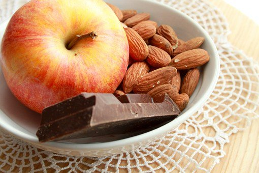 Apple, Almonds, Chocolate, Ingredients, Food
