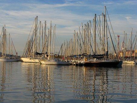 Ship, Sailing Vessel, Hoist, Masts, Stage, Sail, Port