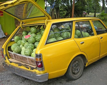 Watermelon, Delivery, Car, Loaded, Funny, Melon
