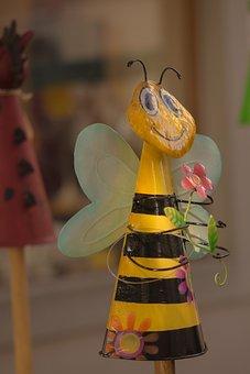 Decorative Items, Bee, Garden, Animal, Metal, Statue