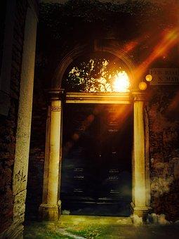 Door, Mystical, Magical, Entwine, Glass Window, Sun