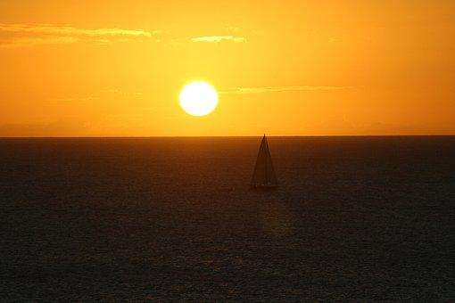 Sunset, At Dusk, Twilight, Sky, Nature, Sea, Ocean, Sun