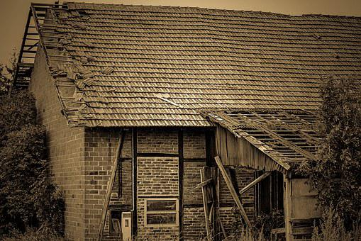 Old House, Barn, Field Barn, Roof, Broken Roof, Tile