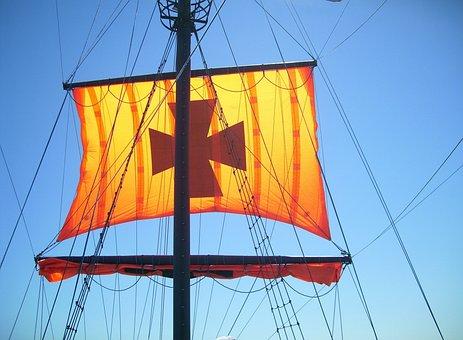 Sail, Ship, Sailing Vessel, Hoisted, Rigging, Cordage