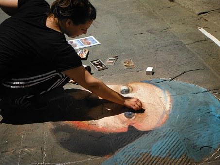 Painting On The Ground, Chalk, Woman, Artist