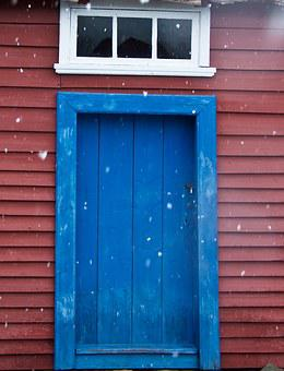 Blue Door, Red Wall, It's Snowing, Architecture, House