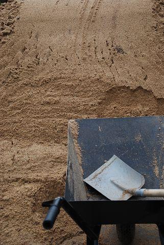 Barrow, Sand, Shovel, Building