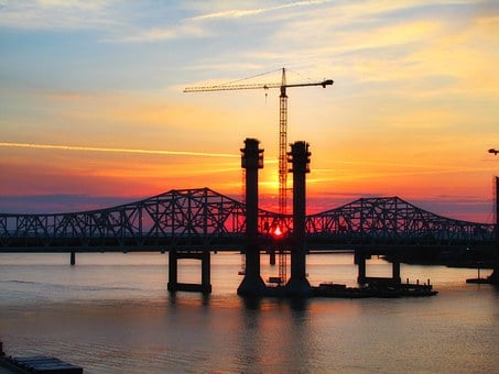 Bridge, Sunset, Crane, Architecture, City, Sky, River