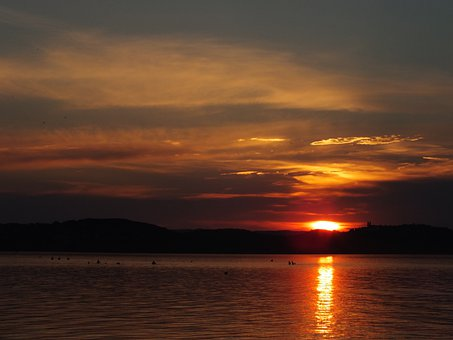 Lake Balaton, Sunset, Tihany Peninsula, Clouds, Colors