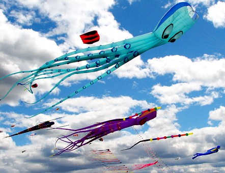 Kites, Sky, Fun, Summer, Blue, Wind, Fly, Colorful