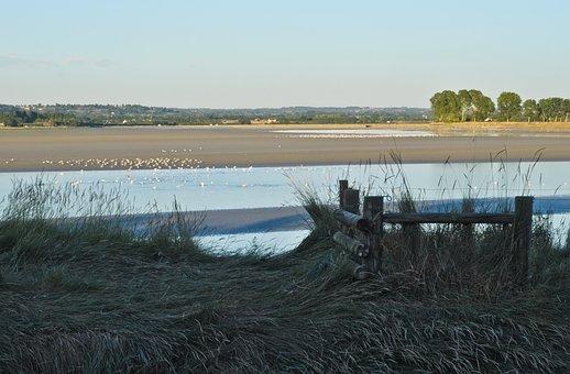 Normandy, Courtils, Grass, Sea, Beach