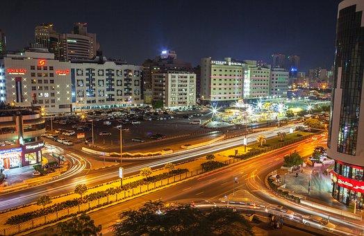 Street, Night Life, Busy Street, Dubai, Al Rigga