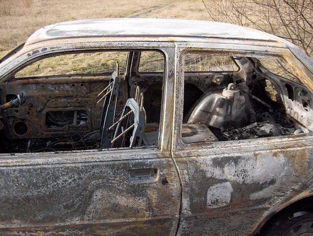 Car, Wreck, Crime, Theft, Fire, Burnt, Heat, Skeleton
