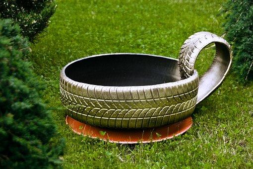 Tire Recycling, Grass, Green, Gold, Painted, Flower Pot