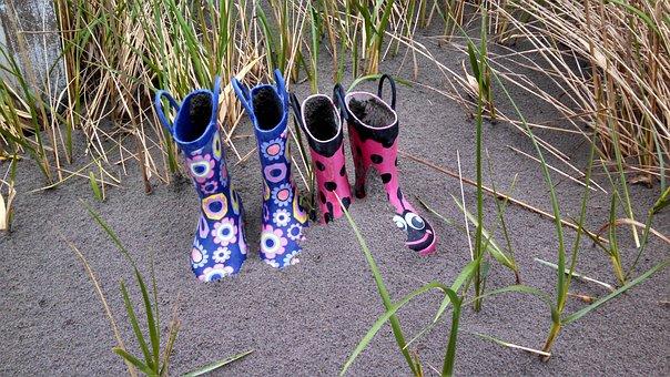 Sand, Grass, Boots, Kids Boots, Dune, Pink, Blue