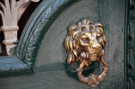 Doorknocker, Lion, Input, Door, Old, Metal, Ring