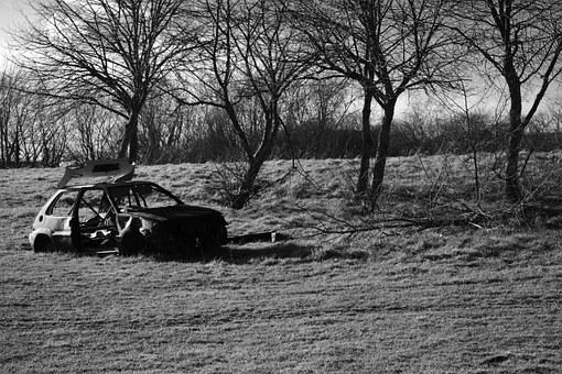 Car, Wreck, Joyrider, Dumped, Burnt Out, Vehicle