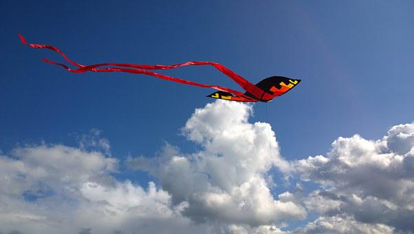 Kite, Red, Black, Yellow, Blue, Sky, White, Clouds