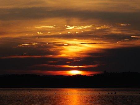 Lake Balaton, Sunset, Tihany Peninsula, Clouds, Colors
