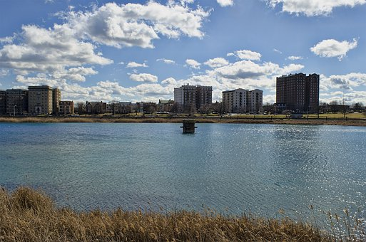 Druid Hill Park, Baltimore, Lake, Architecture, Skyline