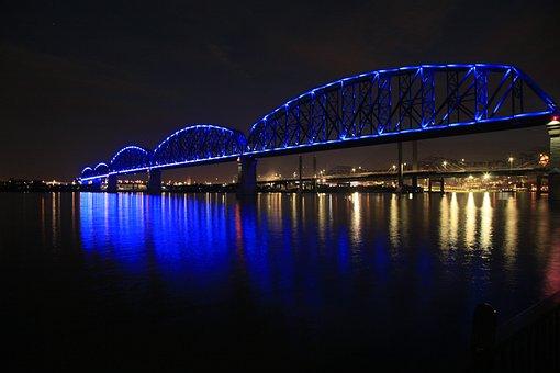 Bridge, Louisville, Kentucky, River, Night, Suspension