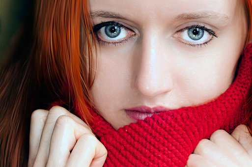 Red, Scarf, Woman, Macro, Eyes, Blue, Iris, Cornea