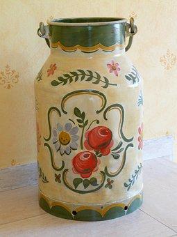 Pot, Milk Can, Painted, Peasant Art, Peasant Painting