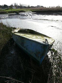 Boat, Marsh, Sea, Estuary, Nature, Vase, Vegetation