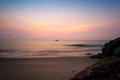 Sunrise, Fishing, Boat, Thailand, Gulf, Rocks, Water
