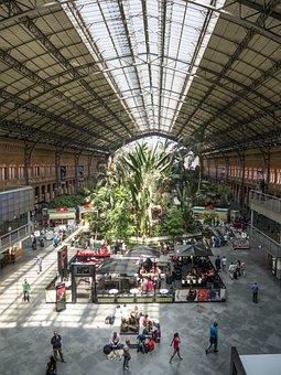 Station, Madrid, Trains, Garden, Space, Huge, Suitcase