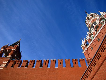 Spasskaya Tower, Wall, From The Bottom, Sky, Clouds
