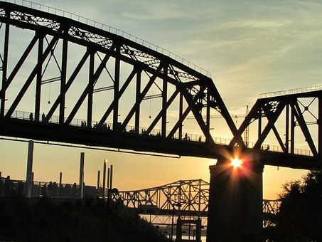 Bridge, Sunset, River, Architecture, Dusk, Sun, Outdoor