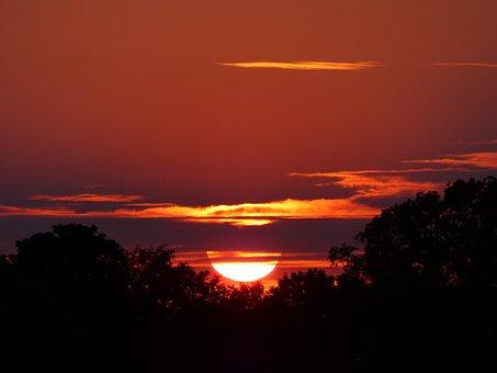 Sunset, Sun, Heat, Nature, Landscape, East Frisia