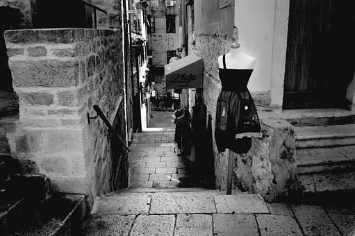 City, Urban, Town, Alley, Stairs, Fashion