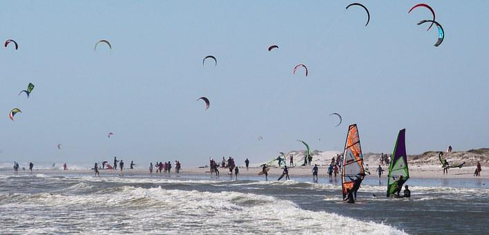 Water Sports, Kiting, Windsurfing, Ocean, Sea, Beach