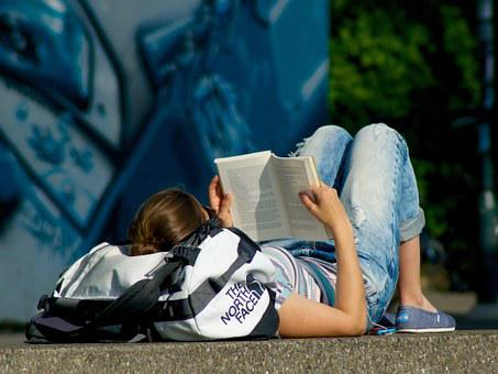 Read Book, Woman, Young, On The Ground, Lying