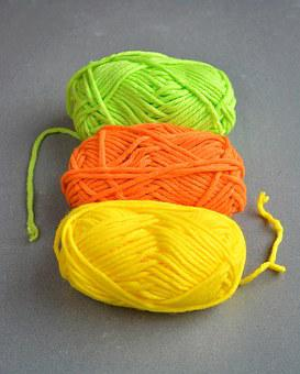 Wool, Knitting Supplies, Colorful, Color, Green, Orange