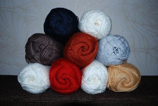Wool, Yarn, Hank, White, Gray, Beige, Red, Blue, Brown