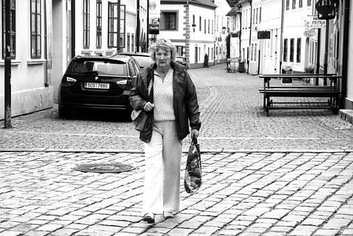 Mrs, Lady, Street, Black And White, Black Tower
